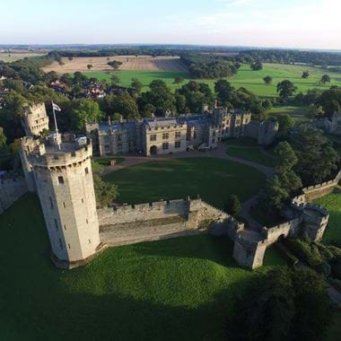 Arial view of Warwick Castle