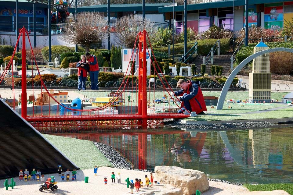 A large LEGO bridge over water