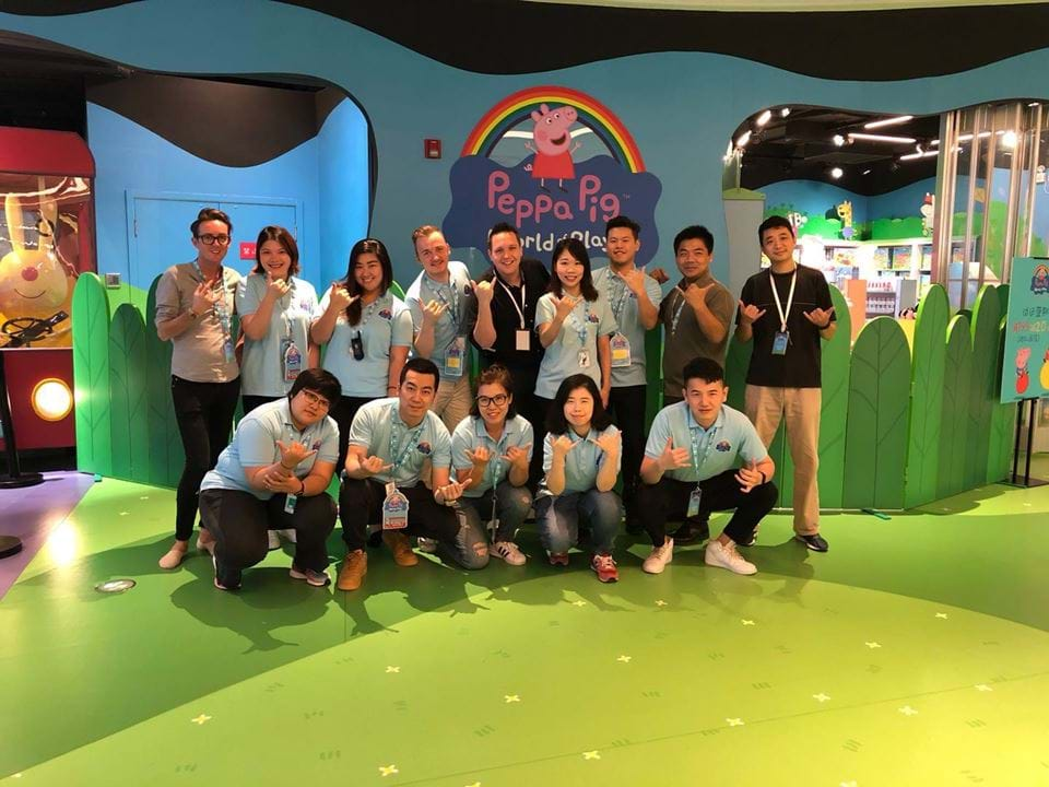 The staff of Peppa Pig World of Play looking happy