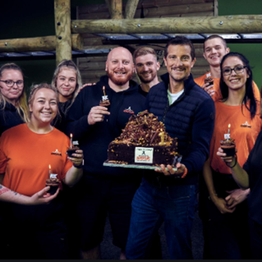 Bear Grylls with the Team